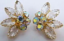 Vintage Juliana Delizza & Elster Clip On Gold Tone AB Clear Rhinestone Earrings