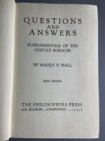 1st! Manly P. Hall 1937 Questions and Answers Occult Sciences Philosophers Press
