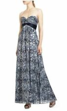 NWT BCBG MaxAzria Kai Maxi Dress Gown Blue Silk Metallic Sweetheart Sz 2 XS