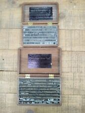 2 Antique 1885 Wood Box Accurate Printing Metal Rubber Type Printing Type Sets