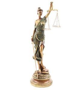 STATUE FIGUR JUSTIZIA GÖTTIN DER GERECHTIGKEIT 53cm HOCH POLYRESIN BRONZE OPTIK