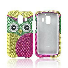 Huawei AT&T Fusion 2 Crystal Diamond BLING Hard Case Snap Phone Cover Green Owl