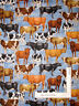Farm Animal Cow Cattle Breed Toss Blue Cotton Fabric QT Bountiful By The Yard