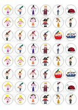 48 Ben and Holly Wafer / Rice Paper Cupcake Topper Edible Fairy Cake Bun Toppers