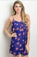 NWT Women's Large Royal Blue Floral Palms Mini Dress Spring Summer BOUTIQUE