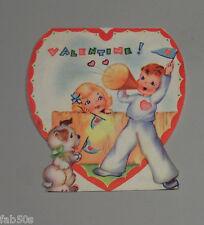 Vtg Valentine Card Boy Male Redhead Cheerleader Puppy Dog 30's 40's