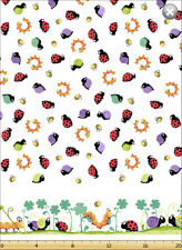 Leif by SusyBee Cotton Quilt fabric Ladybug Snail Caterpillar Bee Border Stripe