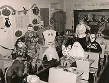 1956 5th graders in Halloween costumes in class 8 x 10 photograph