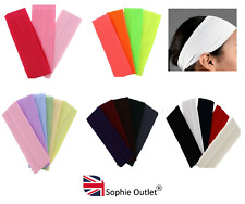 7cm Wide Stretchy Headband Lycra Kylie Band Ladies Sports Hair Gym Hairband UK