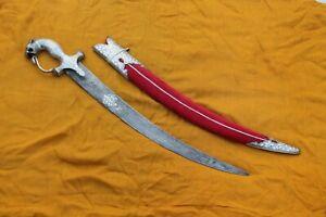 Mughal Islamic indo-Persian silver damascened lion handle Damascus half sword