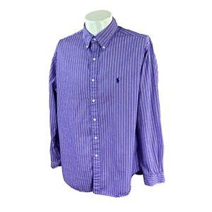 Ralph Lauren Polo Men's Classic Fit 100% Cotton Purple Stripe Shirt 16.5 34/35