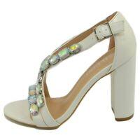 Sandalo donna gioiello bianco con tacco fasce sottili incrociate con strass tacc