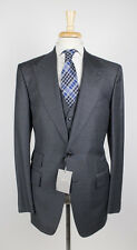 NWT TOM FORD Classic Gray Peak Lapels Wool 2 Button 3 Piece Suit 56/46 R Base A