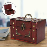 Large Wooden Jewellery Treasure Box Storage Chest Lock Case Oraganizer Decor