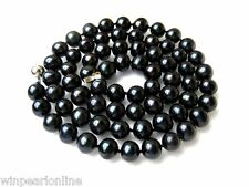 """26"""" Large 11mm AAA- Pure Black Freshwater Cultured Pearl Matinee Necklace"""