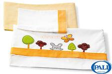 Set Lenzuolino Pali Bosco arancio federa coprimaterasso lenzuolo per lettino