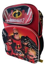 "Incredibles 2 Disney Pixar 16"" Premium Backpack with 3D Graphics New - Must See!"