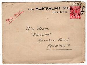 Australia 1922 Sydney NSW - Photo Mailer - 1d Rate Cover to Mosman -