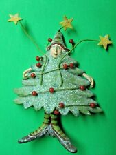 Vintage Whimsical Lady In Christmas Tree Dress Resin & Wire Pin (4)
