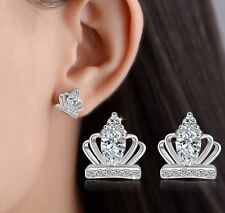 Disney Girl Women Cubic Zirconia Sterling Silver Crown Stud Earrings Gift I32