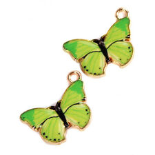 100pcs Green&Gold Plated Butterfly Shape Alloy Pendants Dangle Jewelry Charms D