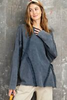 Easel Faded Navy Blue Garment Dyed Frayed Detail Long Sleeve Top