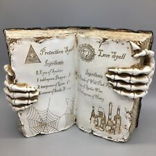 "Witch Open Spell Book Love Protection Skeleton Hand Halloween Prop Decor 13"" NEW"