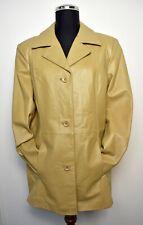 Vintage Dialogue Tan Lined Leather Button-Front Blazer Jacket - Women's Size M