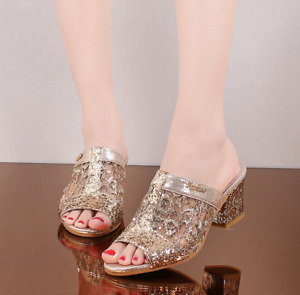 Women's Sequins Slip On Slippers Shoes Open Toe Mid Chunky Heel Sandals Fashion