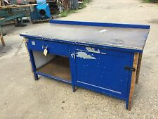 WOODEN WORKBENCH WITH DRAWER & CUPBOARD WITH SHELF (1069)