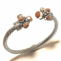 Sunstone Amazing Cuff Bangel Silver Plated Gemstone Handmade Best Price jewelry