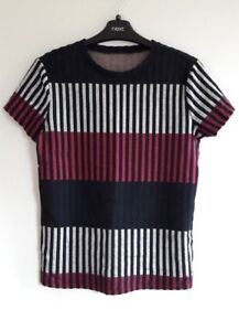 Gorgeous Navy, Pink & Grey Striped Short Sleeve Top from TU - Size 8 - Great!