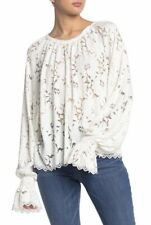 Free People Olivia Sheer Lace Long Sleeve Top OB1037937 Ivory XLarge NWT $98