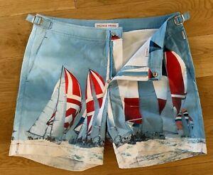 "Orlebar Brown Bulldog Photographic 'Seas The Day' 32""W Swim Shorts New"