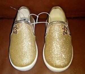Golden Toddler Michael Kors Glitter Slip On Toddler Girl Shoes  Shoes Size 7