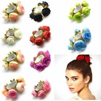 FM- EG_ WOMEN GIRL ROSE FLOWER HAIR BAND ROPE ELASTIC PONYTAIL HOLDER SCRUNCHIE