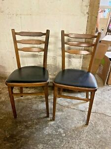 Vintage Retro Style Wooden Kitchen Dining Chairs x 2 Black Faux Leather Seats