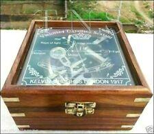Brass Pocket Sextant Nautical Marine Vintage Wooden Box Bronze  Kelvin & Hughes