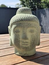 Terracotta Buddha Head Statue Home Zen Garden Patio Ornament Green Outdoor Gift