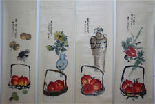 "RARE Chinese 100% Hand Painting 4 Scrolls ""Flowers & Fruits"" By Qi baishi 齐白石 ZZ"