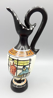 Vintage Greek Pottery Ceramic Pitcher Vase Hand Painted Hand Made Vlass Import
