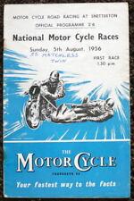 SNETTERTON NATIONAL MOTORCYCLE RACES PROGRAMME 5 AUG 1956