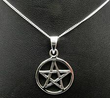 "Sterling Silver (925) Pentagram Pendant (18 mm) + 925 Silver  18""  Necklace !!"