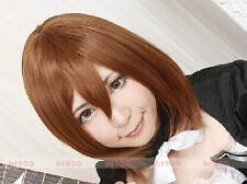 K-ON! Hirasawa Yui / Suzumiya Haruhi Short Brown Straight Cosplay Wig + Free Cap