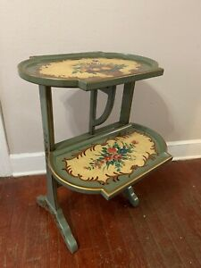 Vintage French Country Provincial Style Floral Painted 2 Tears  End Table