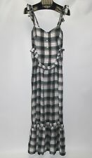 New Max Studio London Dark Green Plaid Women's Size Small Ruffled Maxi Dress