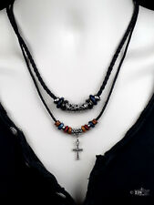 Mens Ladies Brown Leather Pendant Necklace Cross Beaded Surfer Punk Retro Design