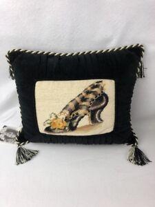 """Embroidered Pillow Shoe Tassels Sandy Lynam Clough Black Velvet & Cream 13""""x10.5"""