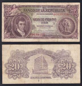 Colombia 20 pesos oro 1965 BB/VF P.401c  A-03