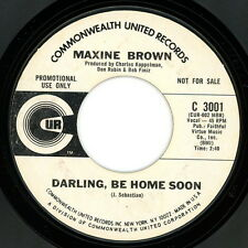 """MAXINE BROWN promo 45:  """"Darling Be Home Soon / We'll Cry Together"""" 1969  VG"""